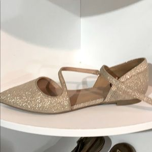 Call it Spring glitter ankle strap flats